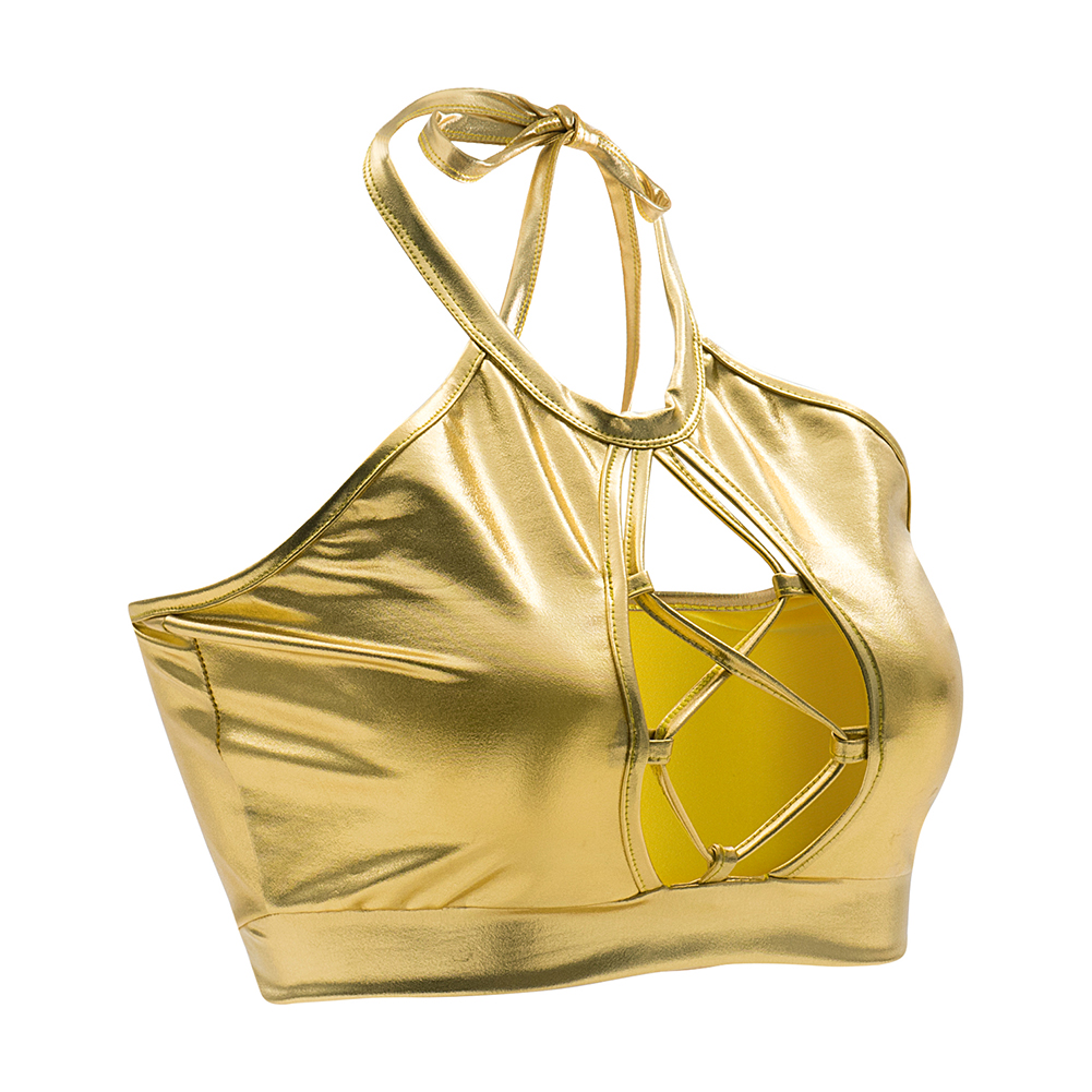 Women Elastic Hollow Out Camis <font><b>Sexy</b></font> Bandage Tanks Camisole Halter Girl <font><b>Dance</b></font> <font><b>Cropped</b></font> <font><b>Tops</b></font> Sliver Vest Gold Tank <font><b>Tops</b></font> XXL image