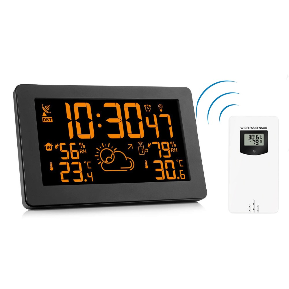 Wireless Weather Station Indoor Outdoor Thermometer Hygrometer Digital Alarm Clock Screen 8 Colors Changing Weather Forecast