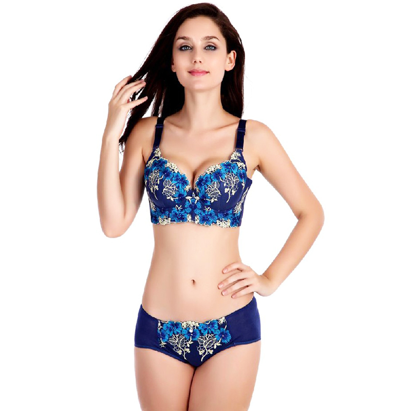 feda57c8d9d High quality deep V brand sexy big size push up bra set floral embroidery  lace women ...