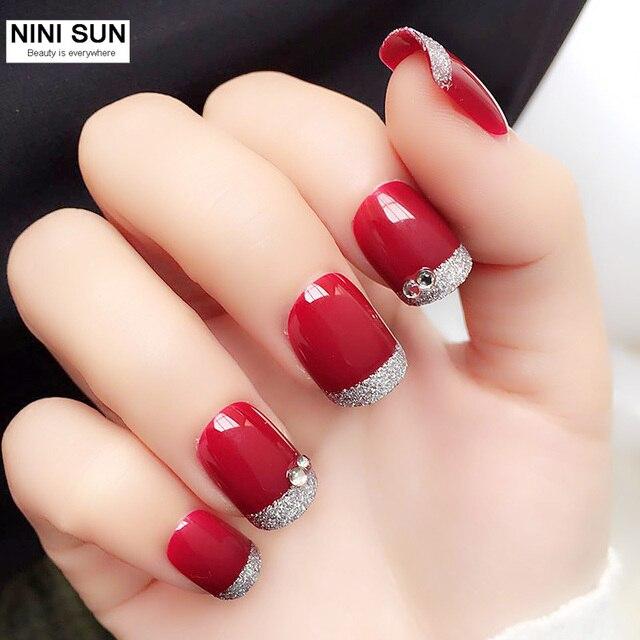 2017 New Fashion 24Pcs decorated false nails unghie artificial ...