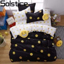 Solstice Home Textile Black Blue Cartoon Cute Smiling Face Emoji 3/4Pcs Bedding Set Duvet Cover Bed Sheet Single Full Queen King