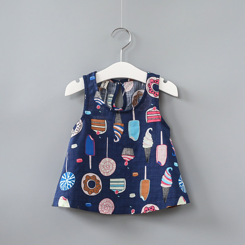 Girls Dress ice cream Sleeveless summer beachwear Kids Clothing 2018 Princess Wedding Party Dresses Clothes Size 2-10year gift boutique endless summer ice cream recipe book