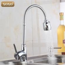 Xoxox torneira de cozinha de cobre, frete grátis, misturador de água fria e quente, torneira para cozinha com único furo, torneira cozinha 5522
