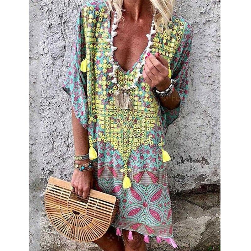 Женское летнее платье, сексуальная женская одежда с V-образным вырезом, Повседневное платье-кафтан, платья в стиле бохо для женщин, сарафан, ...