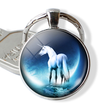 Round Metal Unicorn Key Ring