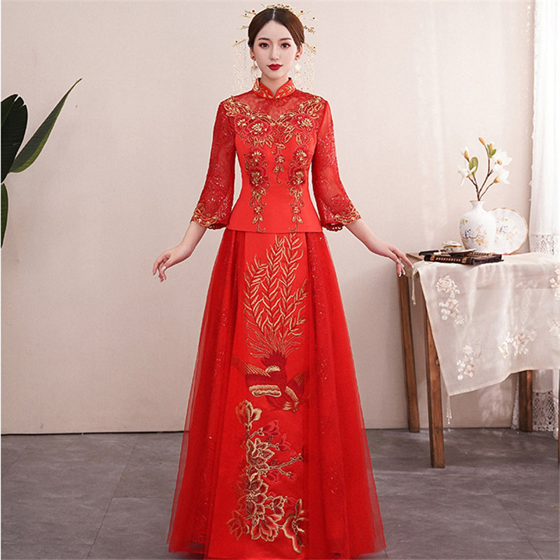 Handmade Beads Sequins Exquisite Cheongsam Vintage Oriental High Quality Embroidery Marriage Dress Suit Classic Qipao Vestidos