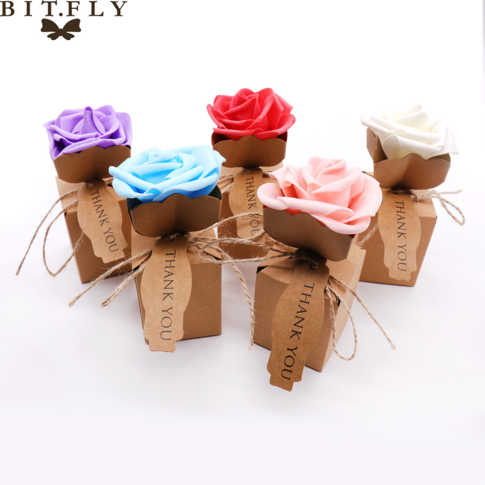 BITFLY 10pcs Rose Flower Gift Box Kraft DIY Vintage Paper Boxes Thank You Candy Gift Bag For Christmas Party Wedding Decoration
