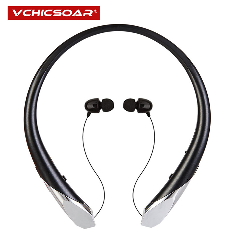 Vchicsoar HX911 Sports Bluetooth Headphones Wireless Retractable Headset V4.1 Stereo Bass Neckband Earphones with Mic for Phone