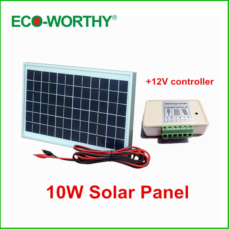 10W//20W 12V//24VSolar Panel Battery Charger 10A//40A//50A Controller Cable Kit !