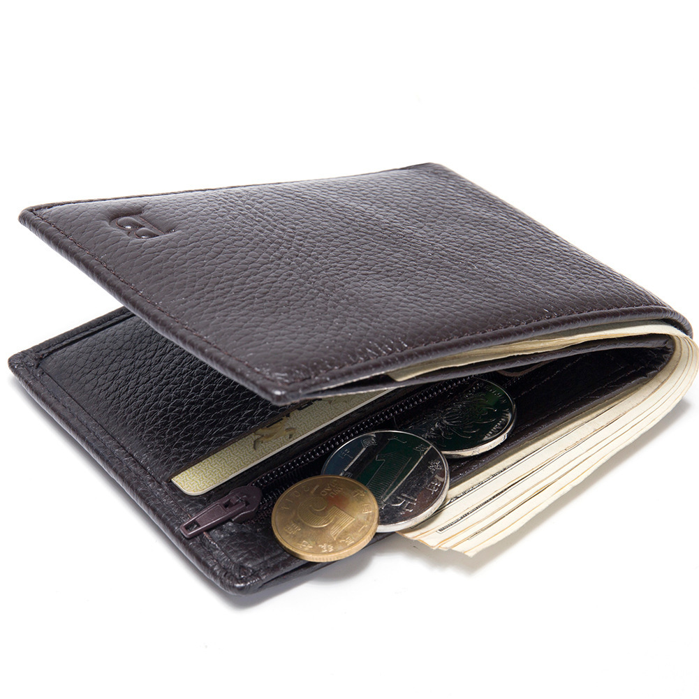 Thin Genuine Real Leather Men Wallet Coin Case Pocket Bag Pocket Slim Brown Money Purse Bifold Short High Quality New Hot Sale