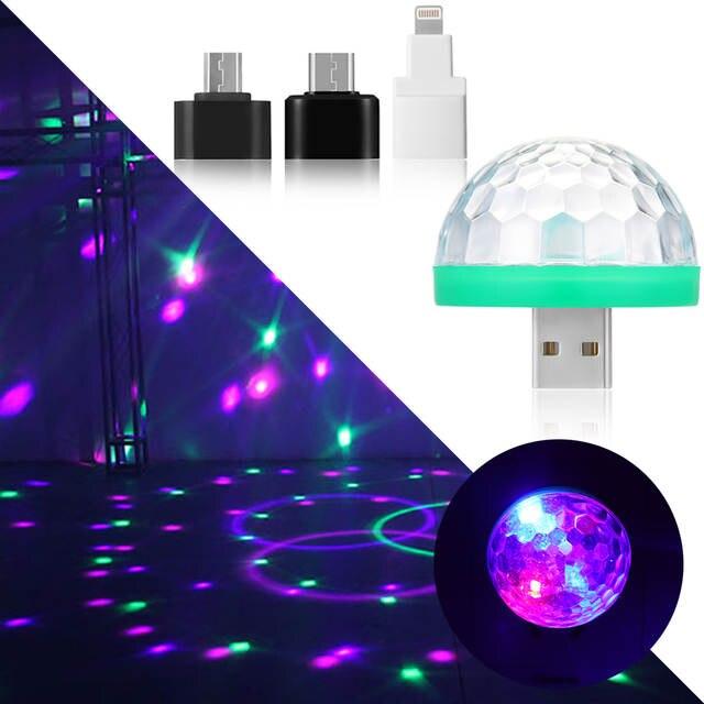 1PC Cool Mini Car USB Atmosphere Light DJ RGB Colorful Music Sound Lamp for  USB-C Phone Music Control Magic Ball