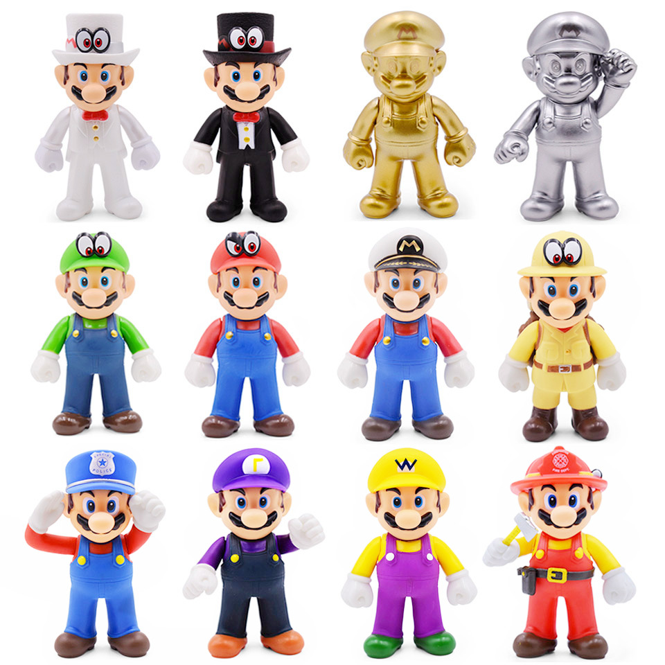 8-15cm Super Mario Figures Toys Super Mario Bros Bowser Luigi Koopa Yoshi Mario Maker Odyssey PVC Action Figure Model Dolls Toy