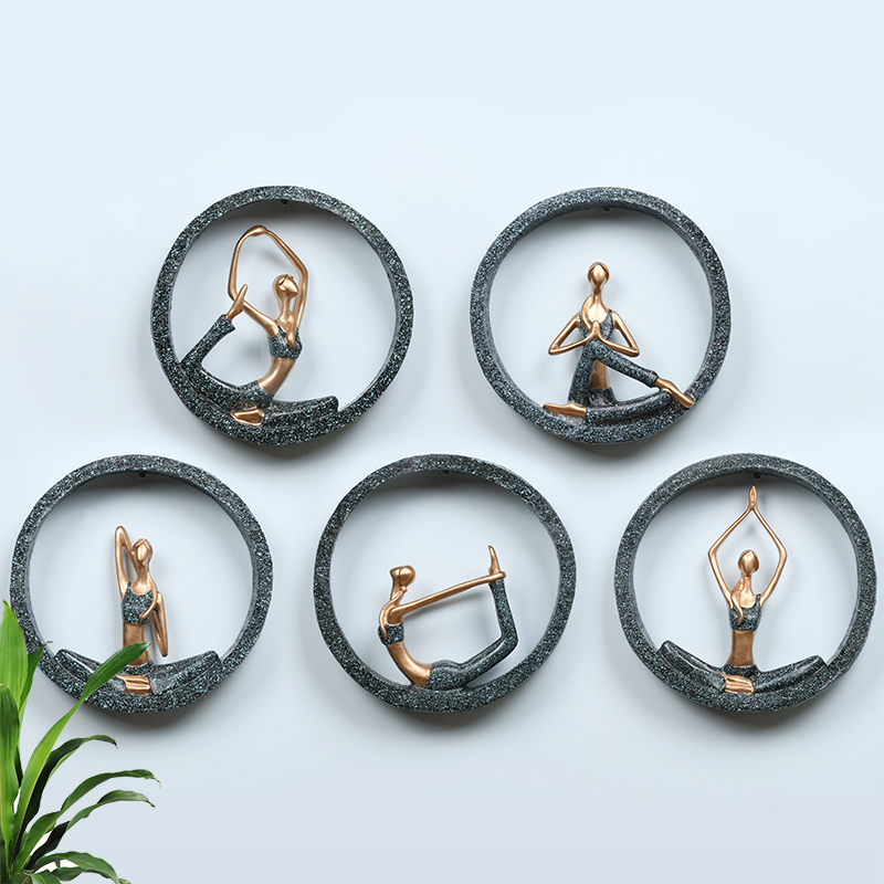 3D Wall Hanging Yoga Lady Resin Abstract Figurine Creative Lady Girl Model for Yoga Studio Room