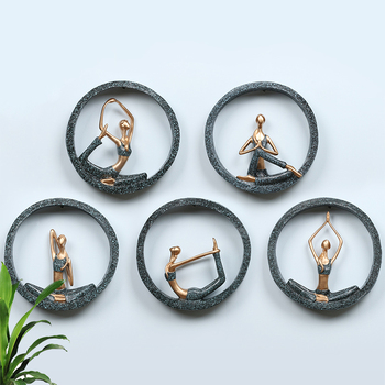 3D Wall Hanging Yoga Lady Resin Abstract Figurine Creative Lady Girl Model for Yoga Studio Room Decor Wedding Decoration