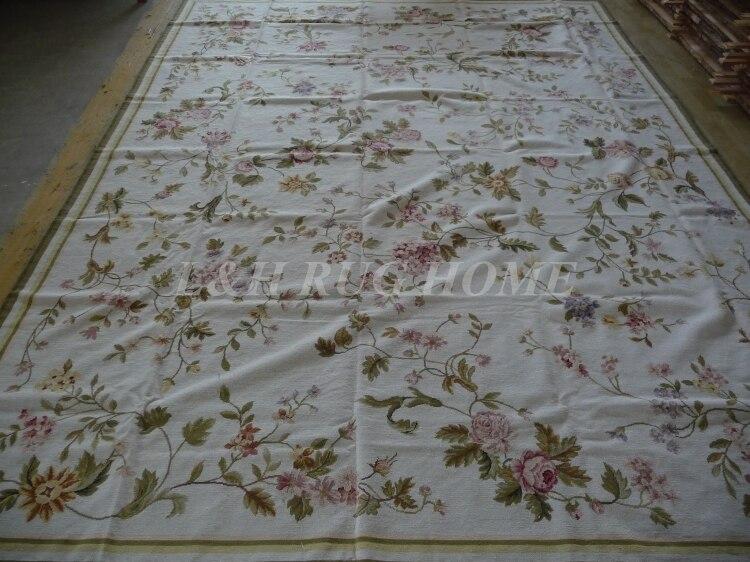 Livraison gratuite 9'x12' tapis/tapis à l'aiguille, tapis fait main, 100% laine de nouvelle-zélande de haute qualité, roses roses