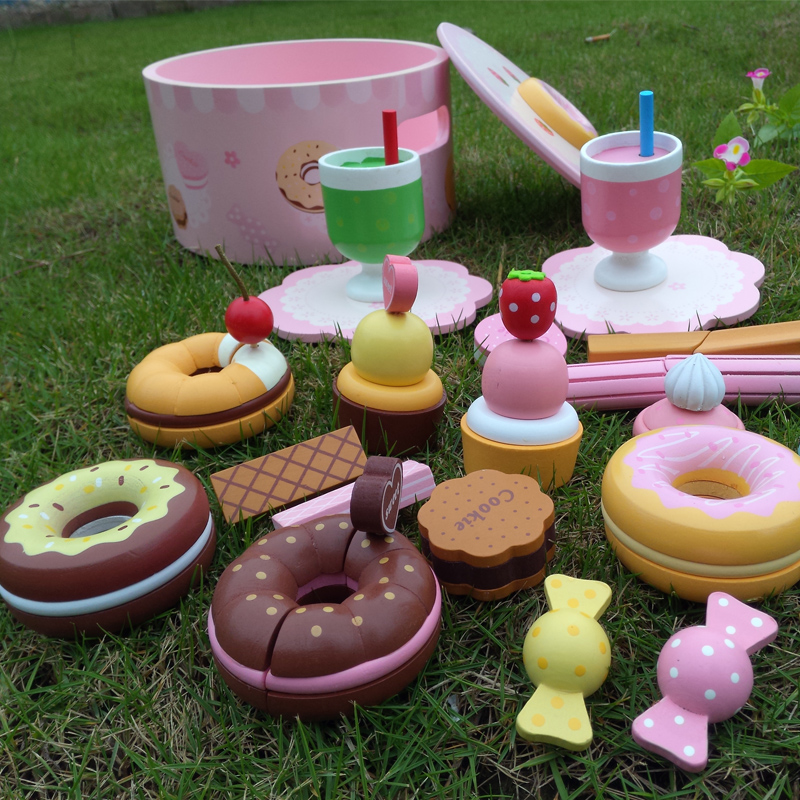 Baby Toys Strawberry Simulation Doughnut Set Pink Princess Party Wooden Toys Afternoon Tea Child Educational Birthday