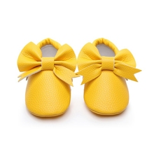 Baby Girls First Walkers Solid High Quality Baby Bow PU Anti