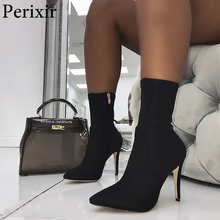 2019 New Boots Women Stretch Fabric Pointed toe Ankle Boots Fashion High Heels Zip Basic High Boots Sexy Pumps Women Shoes