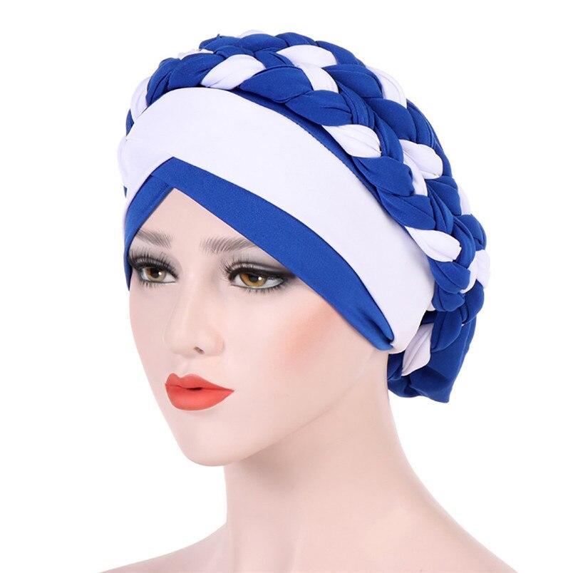 2018 Fashion New Women Hairbraid India Africa Muslim Stretch Turban Cotton Hair Loss Head Scarf Wrap Cap Casual Hot Sale #L26 (17)