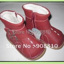 Sandq детский кожаные туфли для маленьких девочек; ботинки красного цвета; с пряжкой и застежкой-молнией натуральные в продаже со скидкой, ручная работа, осенние ботинки, розничная