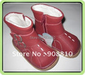 SandQ baby leather shoes baby girls boots red with buckle zip closure clrearance on sale discount handmade autumn boot retail