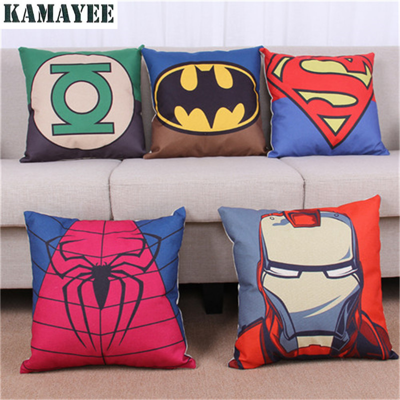 Marvel Batman U0026 Superman U0026 Iron Man Pillow Cushion Cover Superhero Cushions  Linen Throw Pillow For