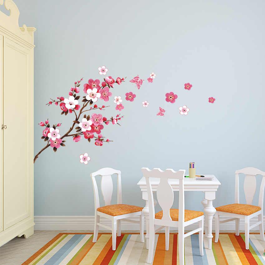 עניבת טיט יפה סאקורה מדבקות קיר סלון חדר שינה קישוטי DIY פרחי PVC בית מדבקות קיר אמנויות פוסטר