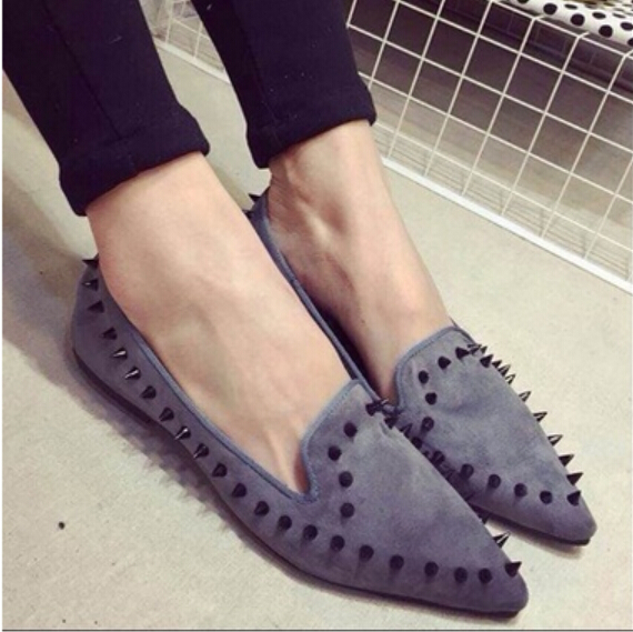 2016 The New leisure Women Pointed Toes Loafers Leopard Black Gray Female Rivet Flat Shoes For Women's Shoes    A24 fashion tassels ornament leopard pattern flat shoes loafers shoes black leopard pair size 38