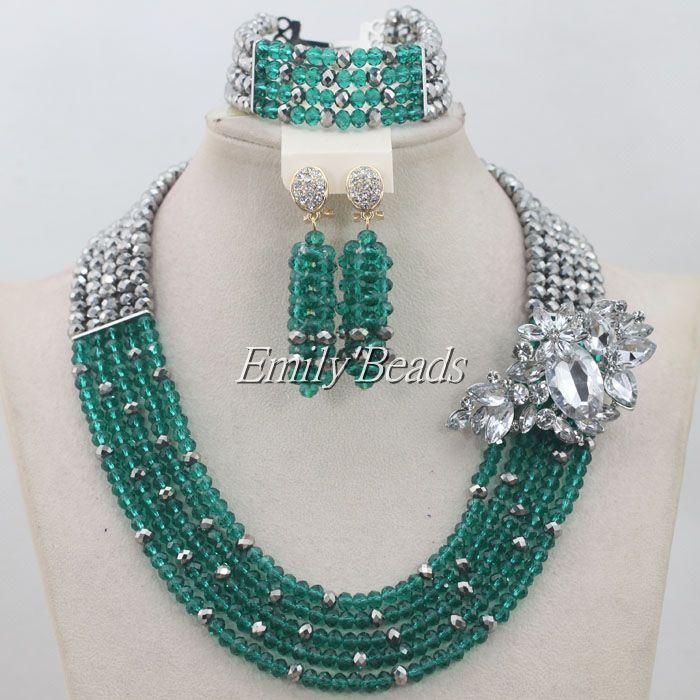 71f5e86de 2015 الساخن تيل الأخضر الأزياء الخرز مجوهرات تعيين النيجيري الزفاف الخرز  الأفريقي مجوهرات الزفاف الدانتيل الشحن المجاني AIJ281