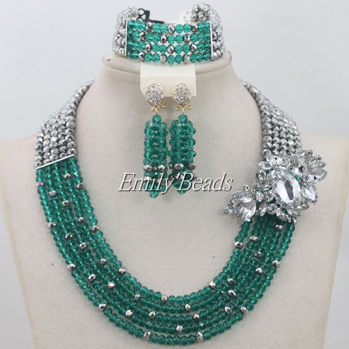 2015 Hot Teal Green Fashion African Beads Jewelry Set Nigerian Wedding Necklace Beads Bridal Lace Jewlery Free Shipping AIJ281