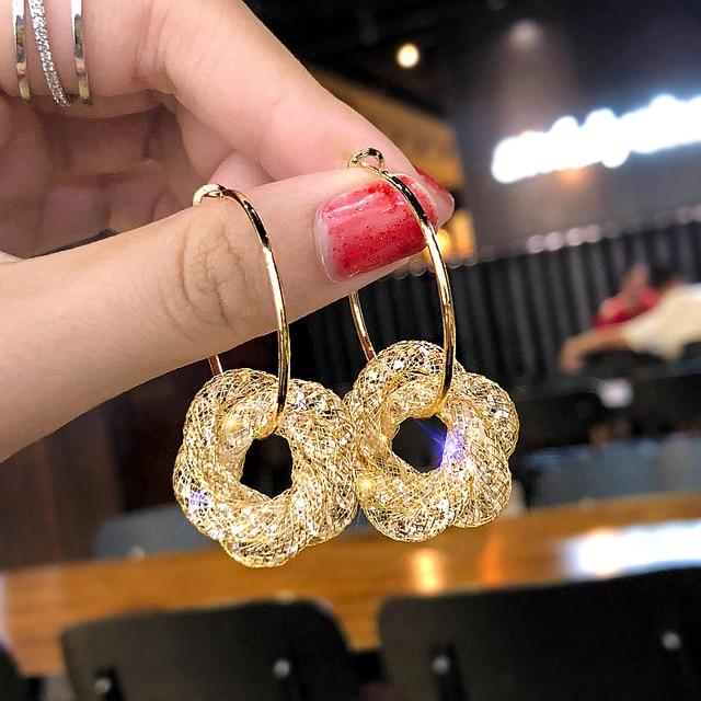 New Design Fashion Charm Austrian Crystal Hoop Earrings For Women Geometric Shiny Rhinestone Big Circle Earrings Jewelry WX121