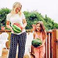 Moda de Maternidad Embarazadas Camisetas Casual Patrón Sandía Imprimir Ropa Divertida Camisetas 80% Algodón Camiseta de Maternidad