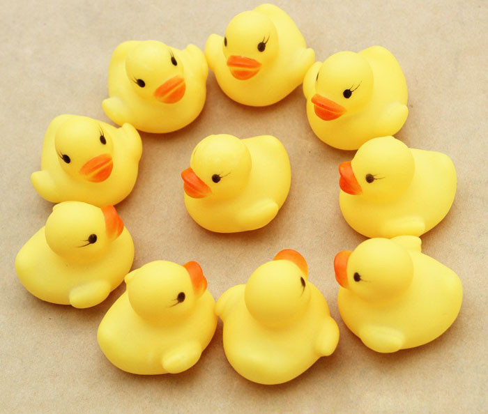 One-Dozen-Gift Toy Shower-Toys Rubber Ducky Duckie Birthday-Favors Baby 12pcs Call Plastic