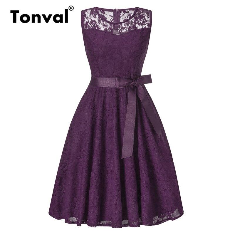 Tonval Lace Purple Vintage vestido de verano mujeres sin mangas ...