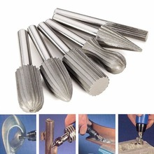 цена на 6PCs 6mm Shank Tungsten Steel Rotary Files Cutter Engraving Grinding Bit for Rotary Tools