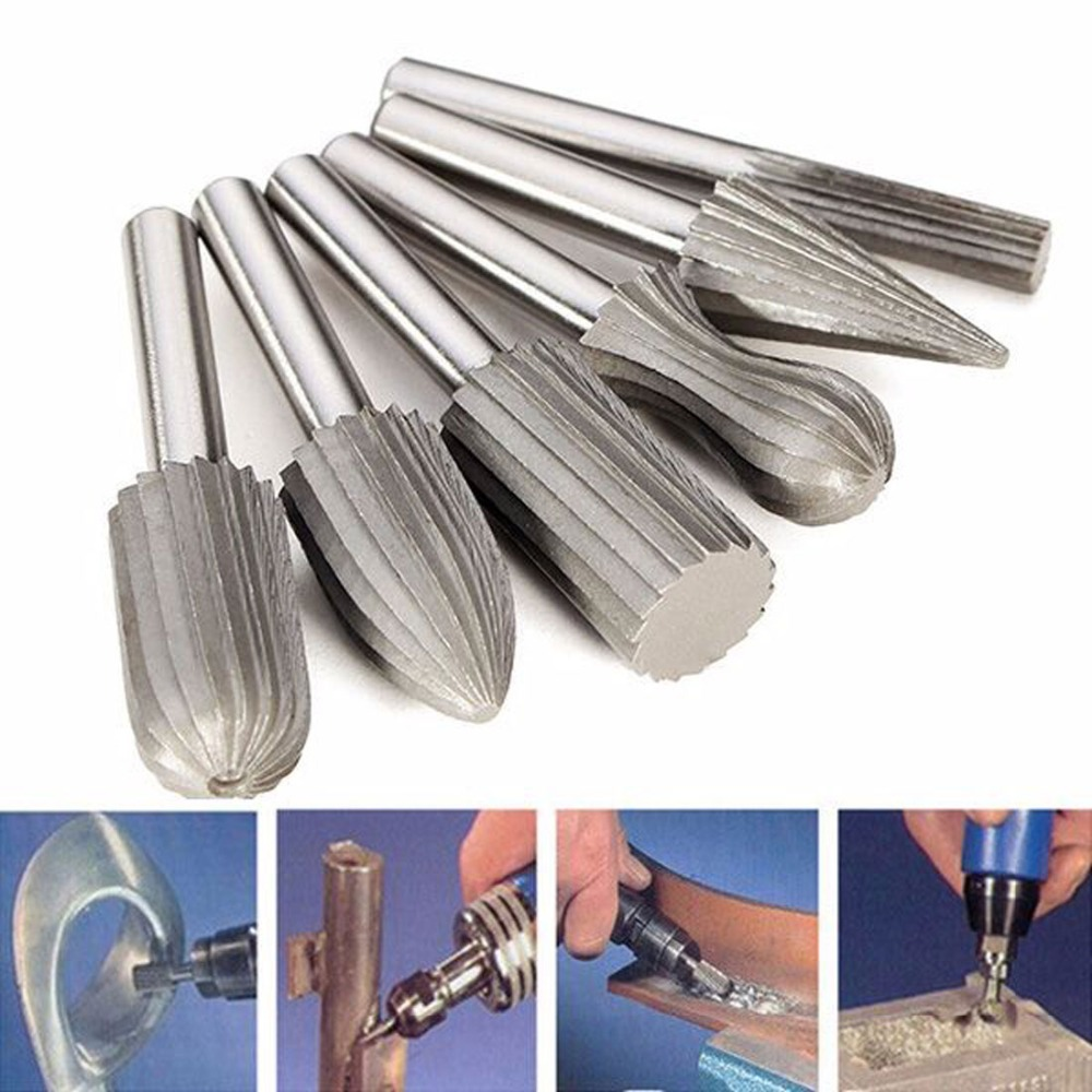 """6pcs/lot 1/4"""" Head Tungsten Carbide Hss Rotary Drill Bit Rasp Burr Electric Grinder Accessories for Metal Engraving /Grinding"""