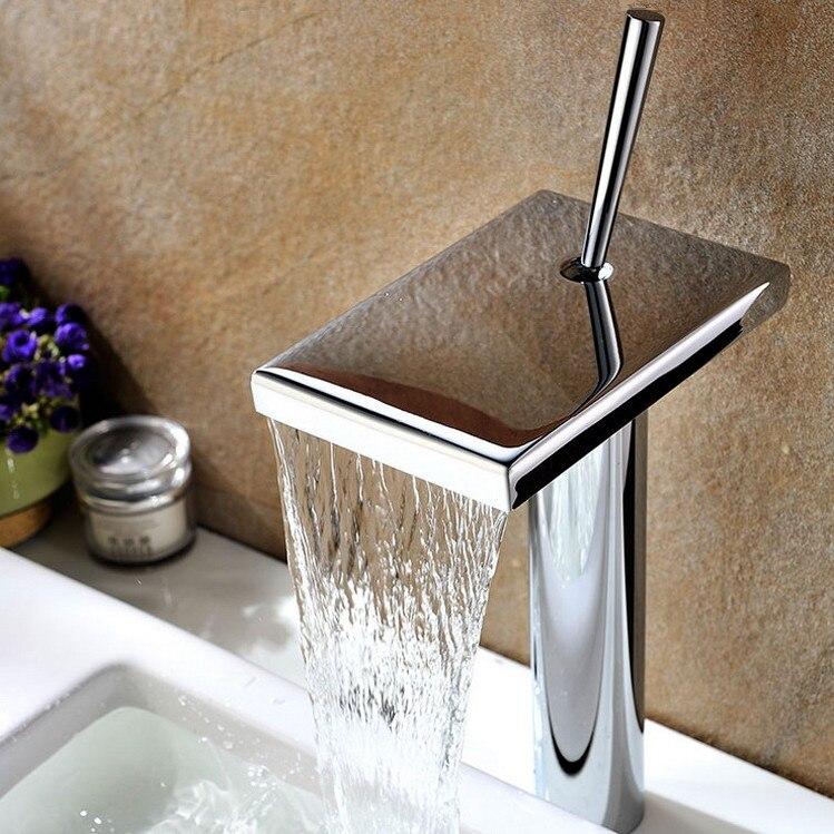wholesale premium unique shape copper polished chrome single handle waterfall vessel faucet bathroom sink mixer