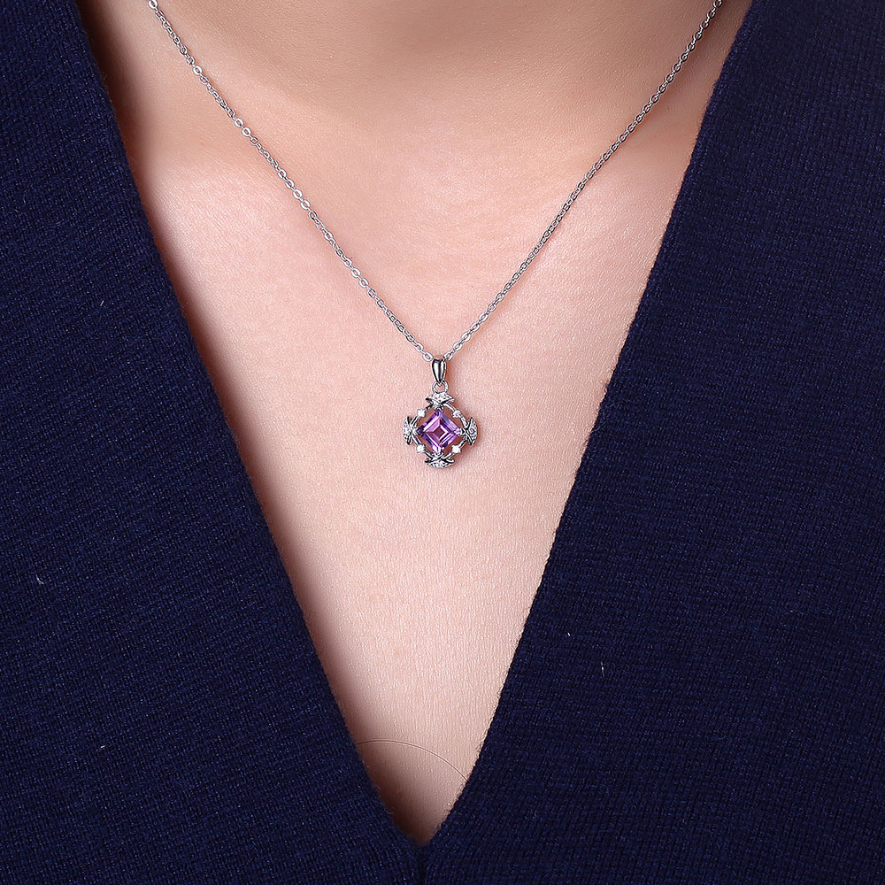DOUBLE-R 100% Natural Amethyst Pendants Genuine 925 Sterling Silver Pendant Necklaces For Women цена и фото