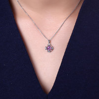 DOUBLE R 100% Natural Amethyst Pendants Genuine 925 Sterling Silver Pendant Necklaces For Women