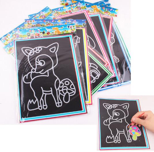 5pcs lot Colorful scratch 19 26CM Sand painting Drawing paper puzzle learning education classic font b
