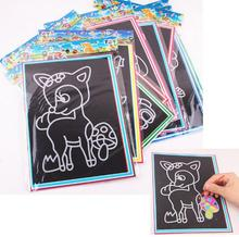 5pcs lot Colorful scratch 19 26CM Sand painting Drawing paper puzzle learning education classic toys for