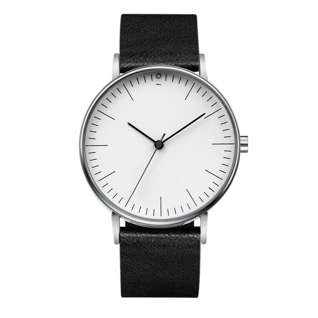Fashion Super Simple Ultra Thin Men Women Watches Casual Quartz-Watch Leather Wr