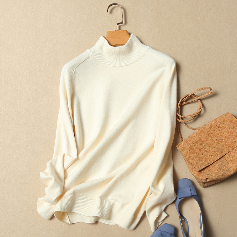 Autumn And Winter Solid Turtleneck Sweater Pullover Short Design Top Loose Female Knitted Basic Sweater Long-Sleeve Pullovers