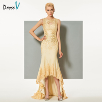 Dressv Champagne Long Elegant Evening Dress Scoop Neck Sweep Train Asymmetrical Wedding Party Formal Dress Lace