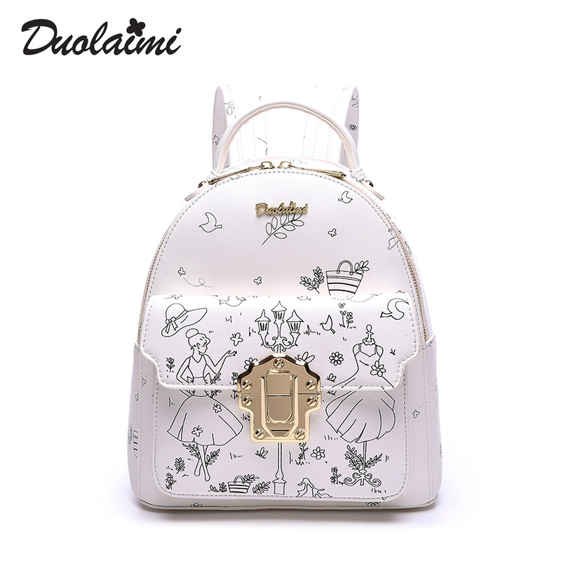 Duolaim 2017 Printing Backpack School Bags For Teenagers PU Leather Women Backpacks Girls Travel Bag High Quality Shoulder Bags printing backpack women school bags for teenagers girls polyester shoulder travel daily laptop bag bolsas mochilas 2016 new hot