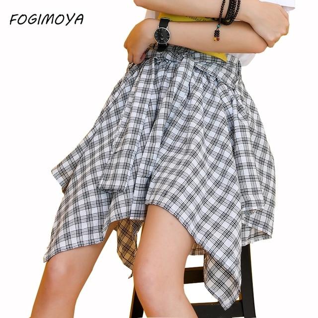 7ed28e1c311 Fogimoya jupe à carreaux femmes jupes irrégulières Style de rue angleterre Mini  jupe Sexy all-