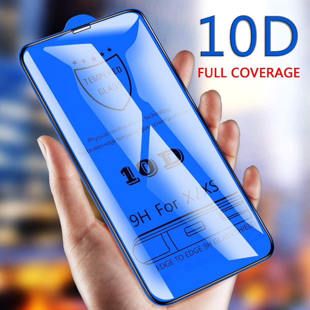 10D Tempered Glass on the For iPhone XS Max XR X 7 Screen Protector for iPhone 6 6s 7 8 Plus Full Cover Protective Glass film in Phone Screen Protectors from Cellphones Telecommunications