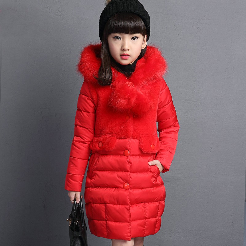 ФОТО Winter Jacket for Girls 2016 New Fashion Casual Warm Long Thick Hooded Coats Cute Teenage Girls Kids Outerwear Children Clothing