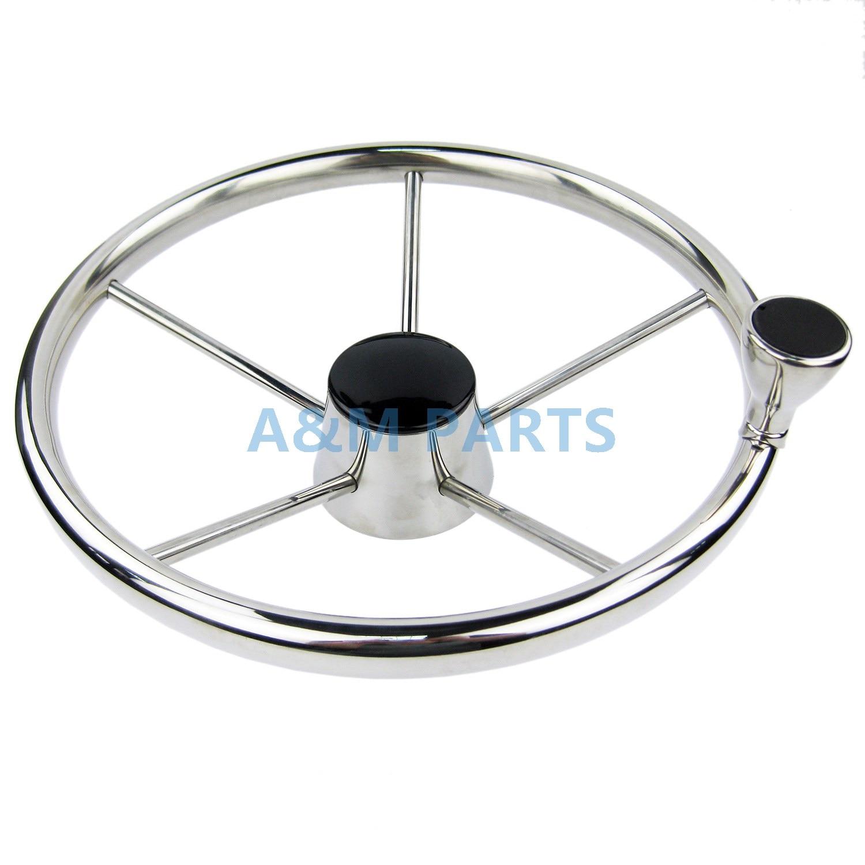 13.5'' Boat Steering Wheel Stainless 5 Spoke 25 Degree With Knob Marine Steering