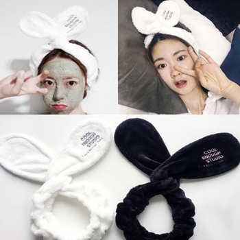 1 Piece Comfortable Letters Cute Rabbit Ear Spa Bath Shower Make Up Wash Face Cosmetic Headband Hair Bands